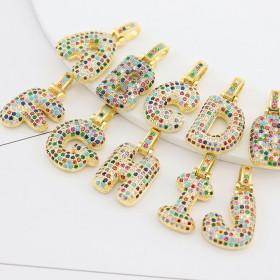 Copper inlaid color Zircon Pendant 26 English letters Necklace