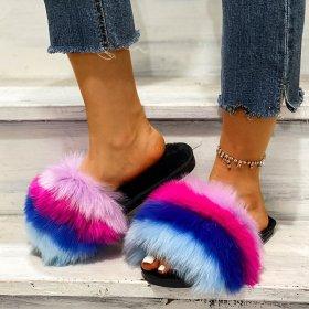 Woolly slippers women's long wool flat bottomed slippers