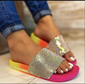 Fancy diamond flat bottom slippers