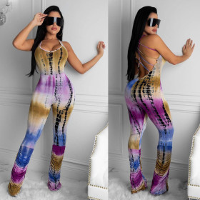 Printed open back suspender with pleated sexy Jumpsuit