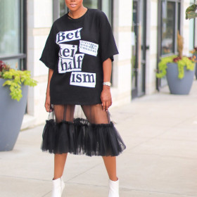 Letter print mesh patchwork T-shirt dress