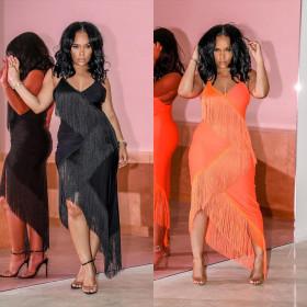 Sexy solid color suspender tassel dress