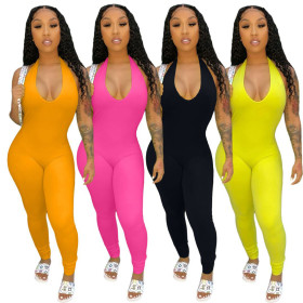 Solid color hanging neck open back pile up pants bottom sexy Jumpsuit