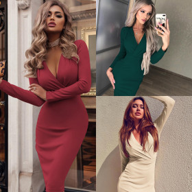Deep V pleated hip wrap spring and autumn long sleeve solid color dress