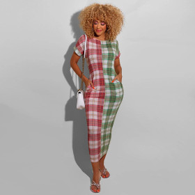 Plaid color matching round neck slim fit pocket long dress