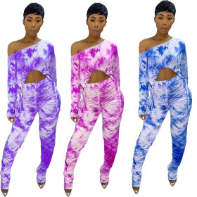 Tie dye printed 2-piece set with slant shoulder, hip lift, slim fit and wrinkle