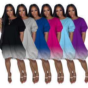 Classic casual gradient solid dress