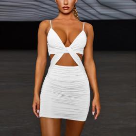 Sexy V-neck low chest suspender hip dress