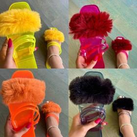 Transparent wool slippers women's flat bottom beach shoes