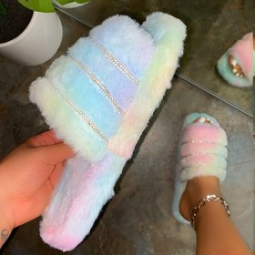 Woollen slippers, water drill Muffin thick bottom, open toe and flat bottom