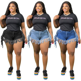 Women's jeans with fringed and ground denim shorts