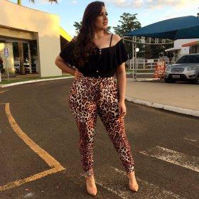 Leopard print oversize pants