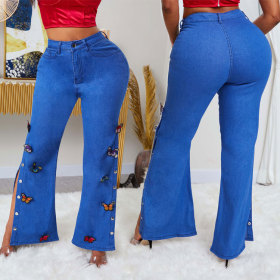 Fashionable butterfly embroidered FastTrack jeans flared pants