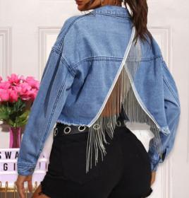 Fashionable tassel and hole jacket