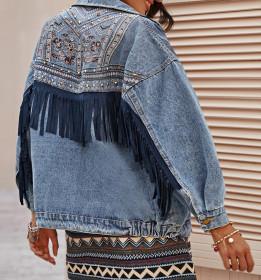 Denim tassel top women's fashion denim coat