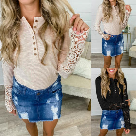 Sexy solid color pierced button lace top