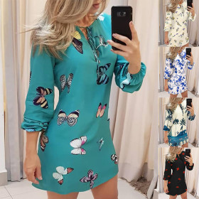 Signature print lace up casual Long Sleeve Dress
