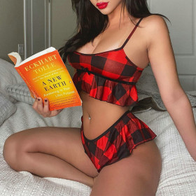 Sexy low chest Plaid print casual suit