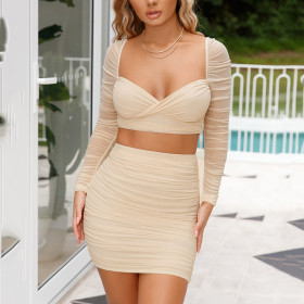 Sexy short skirt long sleeve top casual suit