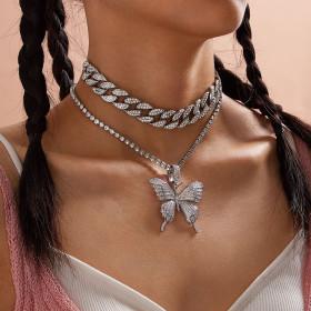 Diamond Butterfly Necklace Pendant Cuban punk two piece Necklace