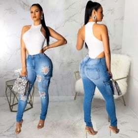 Sexy slim fit bag hip wash hole personality pocket women's jeans Leggings