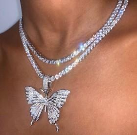 Fashion full Diamond Butterfly Pendant women's necklace cross border
