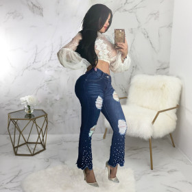 Fashionable and versatile wide leg perforated pearl embellished flared pants