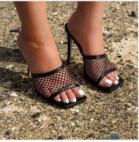 Stiletto Roman mesh sandals slippers large shoes