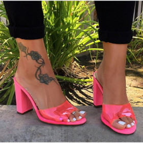 Thick high heeled fluorescent PVC Sandals Flip Flops