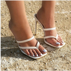 High heeled sandals slippers square toe white shoes
