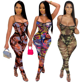 Fashion printed sexy suspender sleeve less two piece set