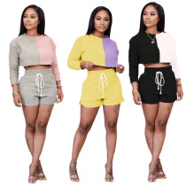 Two piece set of splicing long sleeve shorts
