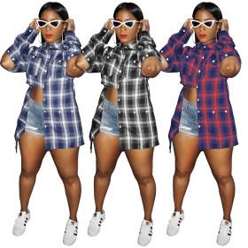 Plaid wear women's multi button long sleeve shirt loose shirt