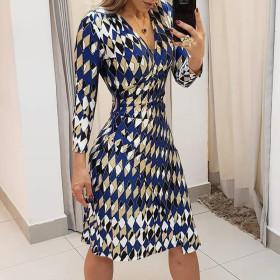 Contrast geometric print long sleeve tight dress