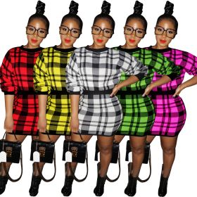 Sexy Plaid thickened sweater with hip skirt
