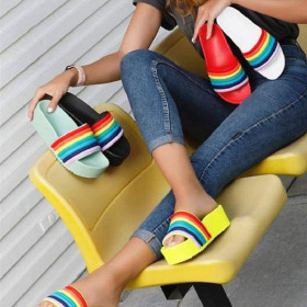 Fashionable color slippers women's muffin thick bottom sandals
