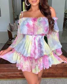 Long sleeve swing dress with suspender print