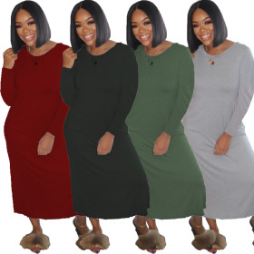 Sexy solid color long sleeve four color women's dress