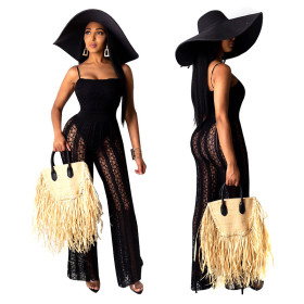 Fashion sexy mesh sling solid color Jumpsuit