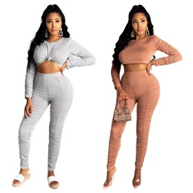 Solid color pleated two piece set