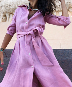 Lapel mid length slit loose long sleeve dress with belt