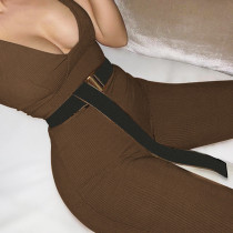 Sexy women's chest wrapped sleeveless U-neck pocketed tights