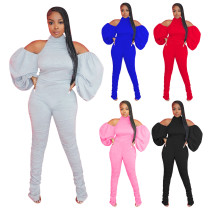 Night club solid cotton hanging neck open back pleated Lantern Sleeve Jumpsuit