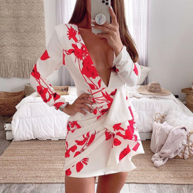 Long sleeve V-neck open back print slim fit net red sexy dress