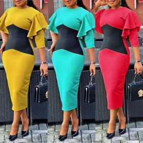 Color matching long sleeve professional hip pencil cross border dress