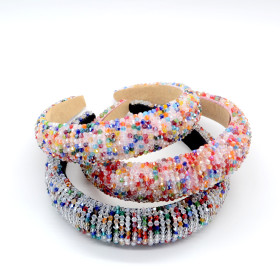 Fashionable and gorgeous sponge hair band color Handmade Beaded wide brim Crystal Hair Band