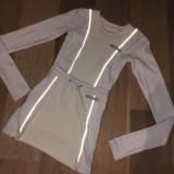 Reflective fringe long sleeve split skirt set