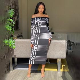 Sexy Print Long Sleeve one line collar plaid skirt