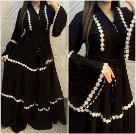 Wide swing flare sleeve lace long sleeve skirt
