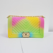 V-pattern single shoulder chain bag colorful frosted jelly bag small fragrance